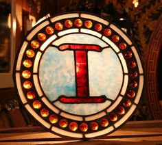 Letter I Made of Red and Blue Antique Leaded Stained Glass with 31 Amber Jewels.  $250.00 - Old Portland Hardware & Architectural, Architectural Salvage in Portland, Oregon