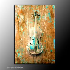 Wall Art Painting Abstract Wall Sculpture Textured Original Modern Contemporary Wall Violin Music Acrylic on Canvas Gold Art New Decor Quote Paintings, Unique Paintings, Contemporary Paintings, Original Paintings, Violin Painting, Violin Art, Large Canvas Wall Art, 3d Wall Art, Wall Sculptures