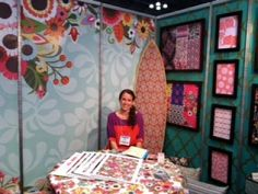 Love the colors and framed fabrics.  Iza Pearl Licensing Booth at Surtex