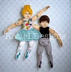 ITH Jointed Ballet Doll Set Machine Embroidery Design Pattern Download 4x4 5x7 6x10 Toy Toys Dolls Christmas Present In The Hoop