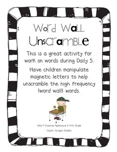 Crisscross Applesauce In First Grade: * Daily 5 * Work With Words * FREEBIE *