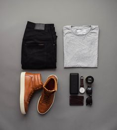 Men's Outfit grid - black denim from Jean Shop Stylish Men, Men Casual, Casual Outfits, Fashion Outfits, Outfit Grid, Gentleman Style, Mode Style, Ideias Fashion, Fashion Accessories