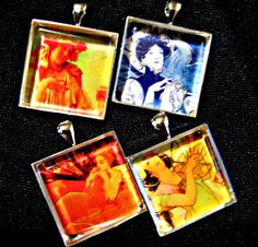 Pendant Set Vintage Art Alphonse Mucha 2 pendants by lovearthouse, $13.00