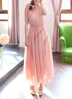 $20.63 Ruffled Solid Color Bohemian Style Scoop Neck Sleeveless Maxi Dress For Women