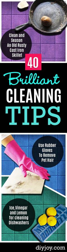 Cleaning Tips and Hacks To Keep Your Home Sparkling- Clever Ways to Make DYI Cleaning Easy. Bedroom, Bathroom, Kitchen, Garage, Floors, Countertops, Tub and Shower, Til, Laundry and Clothes http://diyjoy.com/best-cleaning-tips-hacks