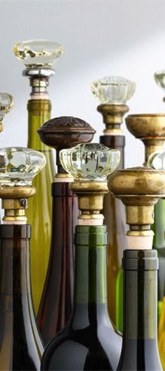 antique door knobs repurposed into wine bottle cork stoppers; Upcycle, Recycle, Salvage, diy, thrift, flea, repurpose, refashion! For vintage ideas and goods shop at Estate ReSale & ReDesign, Bonita Springs, FL