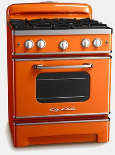 Vintage Inspired Retro Stove, Orangefrom Big Chill  This vibrant orange oven definitely makes me want to whip up a batch of pumpkin spice muffins! I found this oven at Big Chill, which is probably the neatest kitchen store I have ever come across. You can find the coolest refrigerators, ovens and dishwashers all in a retro, '50s style. If you take a look at Rachel Ray's kitchen on her show, you can tell even she uses a Big Chill refrigerator.