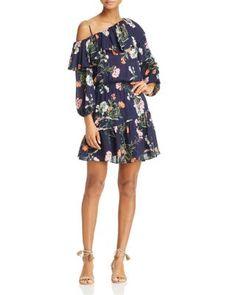 Parker Clarisse Floral Print Silk Ruffle Dress - 100% Exclusive | Bloomingdale's