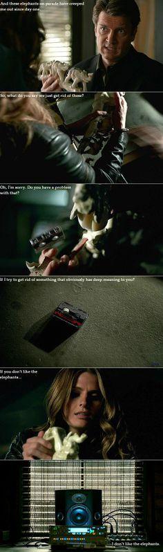 "Castle, Beckett, elephants. 6x08, ""A Murder Is Forever"", vs 6x22, ""Veritas""."