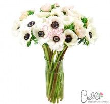 White fresh anemones with a pink blush