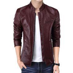 New Brand Men's Jackets PU Leather Jacket Punk Red Leather Jackets Zipper Men Chupas De Cuero Hombre Best Leather Jackets, Men's Leather Jacket, Vintage Leather Jacket, Leather Men, Jacket Men, Ourfit, Hollister, Mens Clothing Styles, Clothing Ideas