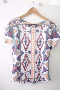 3b93b10d GAZE USA funky ladies aztec print tee shirt top one size to fit uk 10 ish