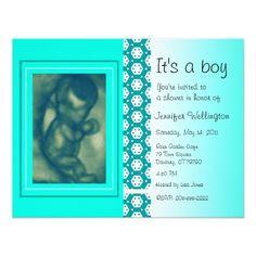 Baby Shower Invitation Green Ultrasound Photos Cards Invitations