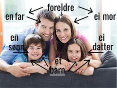 Blogginnlegg om familie og venner på nivå A1.