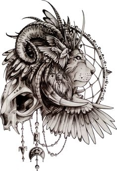 Lion and skull tattoo design Native American style