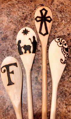 Wood Burned Spoons in Painted Mason Jar by ToriesCraftyJunk, $45.00