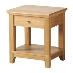 HEREFOSS Bedside table, oak oak 52x44 cm