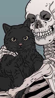 Kitty and Skeleton cats pets cute - Hintergrund - - Katzen / Cat - Cat Wallpaper Witchy Wallpaper, Halloween Wallpaper Iphone, Cat Wallpaper, Aesthetic Iphone Wallpaper, Aesthetic Wallpapers, Wallpaper Art Iphone, Cool Iphone Wallpapers, Wallpaper Backgrounds, Halloween Backgrounds