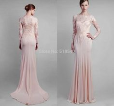 Vestidos De Fiesta 2014 New Sexy Elegant O-neck Long Sleeves Pink Lace Straight Long Evening Dresses Party Prom Dress