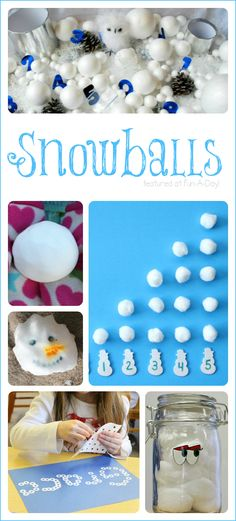 Playful winter activities for kids, all around a snowball theme! Math, literacy, sensory, art, and science . . .