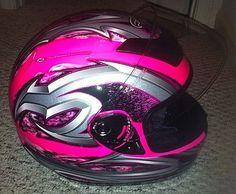 Fulmer Women's Motorcycle Helmet  (Pink, Silver & Black Graphics, Used Ladies Streetbike Helmets)