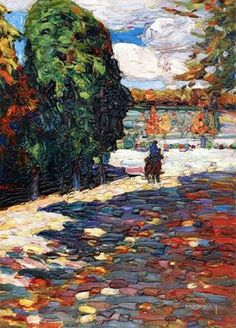 Wassily Kandinsky, Russian Park von St Cloud - mit Reiter (Park of St Cloud - With oil on board, 33 cm in. Wassily Kandinsky, Henri Matisse, Famous Artists, Great Artists, Love Painting, Oeuvre D'art, Art Pictures, Art Pics, Landscape Paintings