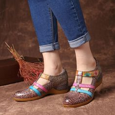 9dc6e451bb CA$98.86 59% SOCOFY Genuine Leather Hollow out Pattern Hook Loop Sandals  Women's Shoes from