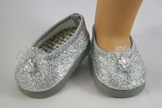 American Girl or 18 inch doll Ballerina princess party flats SHOES dressy SILVER sparkle 10.00