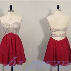Burgundy Homecoming Dress,Chiffon Homecoming Dresses,Backless Homecoming Gowns,Beading Party Dress,Short Prom Dress,Open Back Sweet 16 Dress,Sparkly Homecoming Dresses,Open Backs Formal Gown