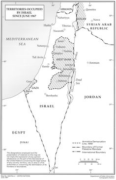 Map of Palestinian, Egyptian, and Syrian lands occupied by Israel in 1967. The Palestinian West Bank and Gaza Strip, and the Syrian Golan Heights are all still under occupation. Click here for larger map.