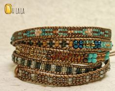 Neutral Colored Women's Bohemian Jewelry Bracelet with Crystals and Beads on Brown Leather with Bronze Button