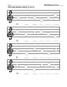 B-A-G-E Worksheet. Mad Minute Music Idea