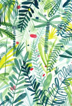 This leafy pattern by Charlotte Trounce has us ready to explore the jungle! Illustration Blume, Pattern Illustration, Surface Pattern Design, Pattern Art, Jungle Pattern, Green Pattern, Pattern Images, Textures Patterns, Print Patterns