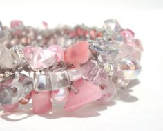 Rose Quartz Cuff Bracelet Pink Promise Think Pink by lapisbeach,