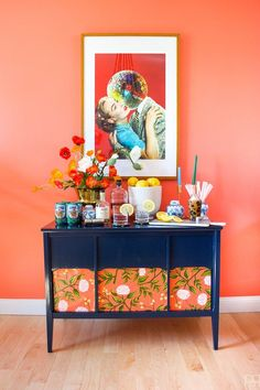 Beautiful Removable Wallpaper Ideas Even Renters Can Love - Furniture Removable Wallpaper, Bright Decor, Mid Century Modern Furniture, Blue Sideboards, Home Decor, Colorful Decor, Wallpaper Samples, Diy Wainscoting, Modern Furniture Makeover