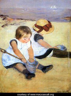 Children Playing On The Beach - Mary Cassatt - www.marycassatt.org
