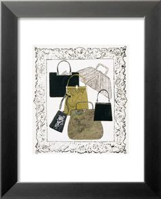 Six Handbags in a Frame, c.1958 Laminert kunsttrykk i ramme
