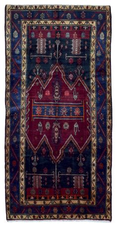 Semi-Antique Red, Navy and Beige Persian Hamadan Oriental Runner Rug 5'1X9'10