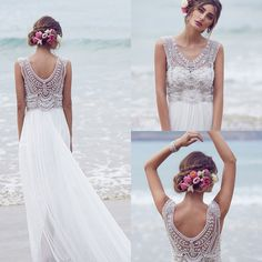 Wholesale Anna Campbell 2016 Wedding Dresses Beading Crystals Sleeveless Chiffon Beach Wedding Gowns Floor Length Luxury Boho Custom Made Bridal Dress, Free shipping, $153.4/Piece | DHgate Mobile
