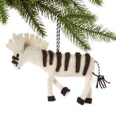 White Zebra Felt Holiday Ornament - Silk Road Bazaar (O)