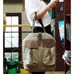 44 BRIGIDE™ Canvas PU leather shoulder bag