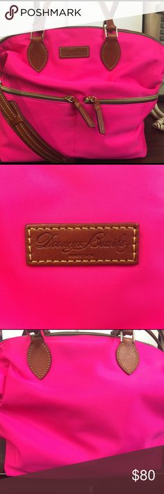 Authentic Dooney & Bourke handbag Fuschia pink nylon bag. Used 2 weeks, brand new. No stains, marks and smoke free home. Great summer bag. Can use as satchel or long strap makes it a shoulder bag or cross body. Two outside zippers and four large pockets with a large zipper compartment on the inside. Purchased for $100.00 at Dooney & Bourke factory store at Clinton Crossing Premium Outlets. Dooney & Bourke Bags Satchels