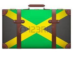 Maleta de equipaje clásico con la bandera de Jamaica para viajar. Aislado en el fondo blanco. photo