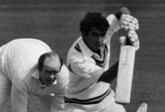 Brian Close fielding while Sunil Gavaskar bats