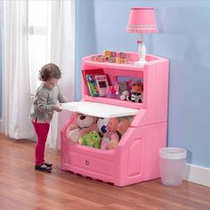Kids Pink Bookcase and Storage Toy Chest