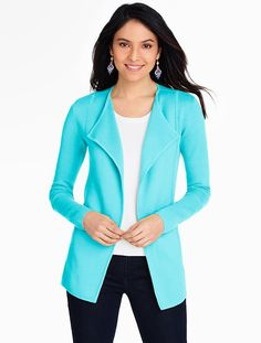 Wing-Collar Sweater Jacket - Talbots