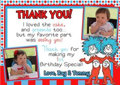Dr Seuss Thank You by Asapinvites on Etsy, $12.00
