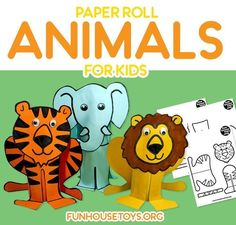 It's time to get crafting again!!  We're showing you how to make another  cute toilet paper craft for kids that is easy enough to make with  beginners. Not long ago we made a sweet Bee, Ladybug and Flowers. And  today we are crafting a Lion, Tiger, Elephant and Hippo #activitiesforkids #preschool  #preschoolprintables #coloringprintables #craftingfortoddlers  #craftforkids #crafting #craftfortoddlers #coloring #funhousetoys  #funhousetoysprintables Toilet Roll Craft, Toilet Paper Crafts, Paper Roll Crafts, Paper Crafts For Kids, Crafts For Kids To Make, Diy Paper, Easy Crafts, Fun Printables For Kids, Printable Crafts
