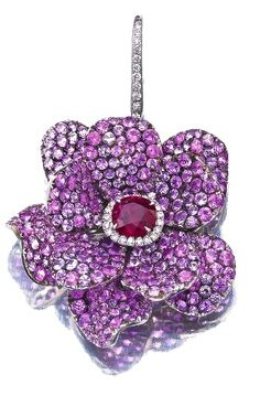 Ruby, Pink Sapphire and Diamond earring-- Michele della Valle