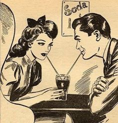 Retro illustration couple drinking from a tall glass malt shop diner Images Vintage, Art Vintage, Vintage Romance, Vintage Comics, Retro Art, Love Vintage, Vintage Drawing, Vintage Travel, Arte Pop